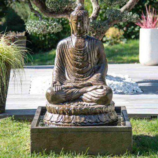 Fontaine de jardin bouddha assis 1 m patiné
