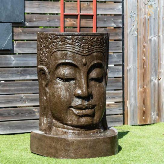 Fontaine de jardin mur d'eau visage de Bouddha 1 m 20 brun antique