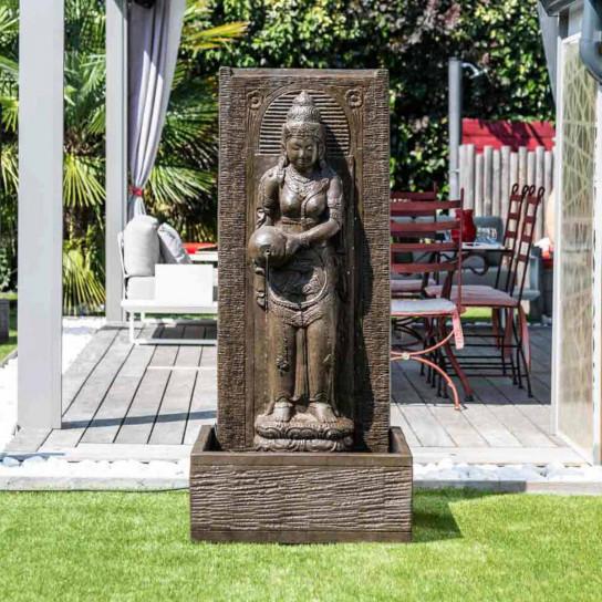 Fuente de jardín pared de agua diosa dewi sri 1,50 m marrón
