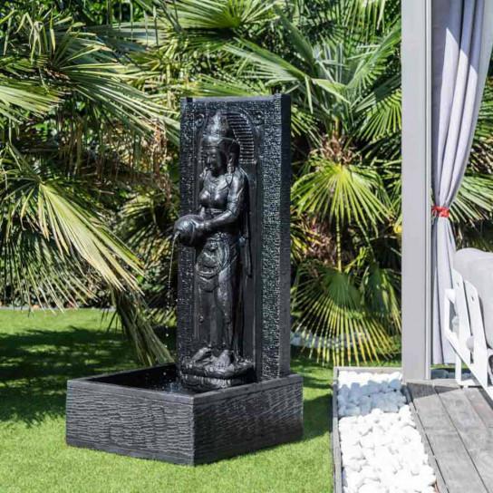 Fuente de jardín pared de agua diosa Dewi Sri 1,50 m negro