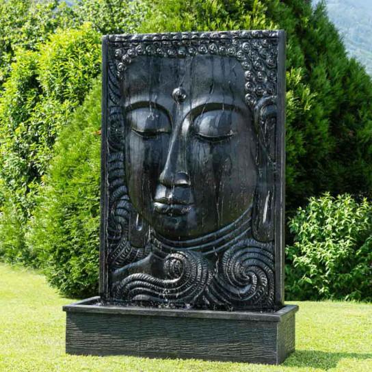 Fuente grande de jardín pared de agua rostro de Buda 2,10 m negro