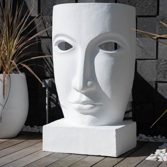 Grande statue de jardin visage design blanc