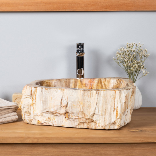 Grande Vasque à poser en bois pétrifié 65CM