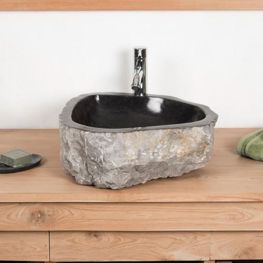 Vasque poser en marbre roc rectangle noire l 35 40 cm for Grande vasque salle de bain