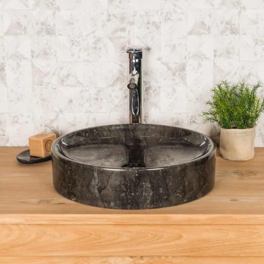 Grande vasque ronde à poser mino noire 42cm