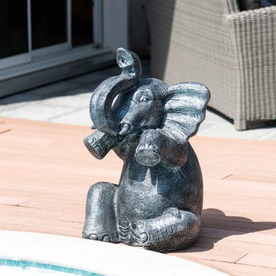Grey weathered-finish seated elephant statue 80 cm