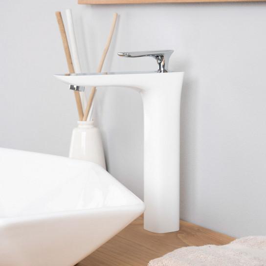 Grifo elevado para lavabo de cuarto de baño Glomma blanco y cromado