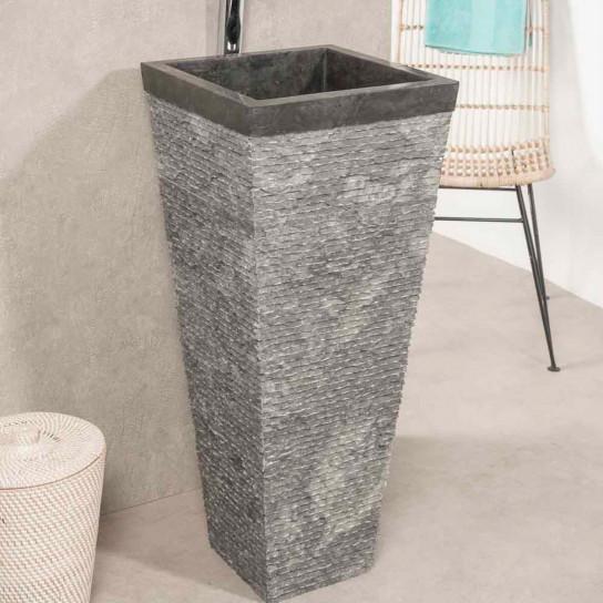 Havana black stone pyramid bathroom pedestal sink
