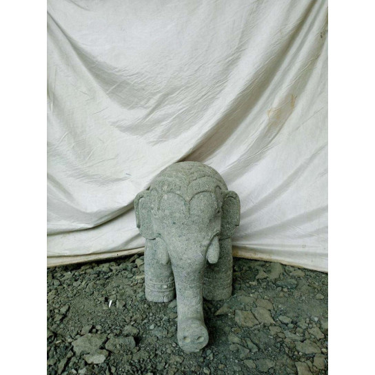 Indian elephant statue in stone 80 cm