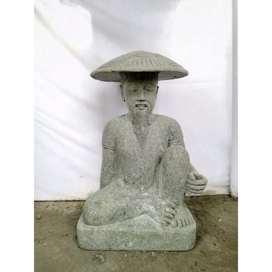 Japanese volcanic rock fisherman statue 80 cm