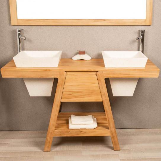 Khufu cream terrazzo sink and teak bathroom vanity unit 140