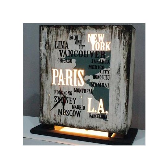 lampe poser loft bois m tal style industriel h 40 cm. Black Bedroom Furniture Sets. Home Design Ideas