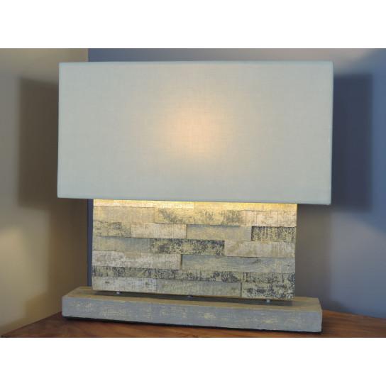 Lampe à poser rectangle en bois patiné gris 62 cm