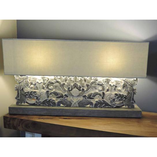 Lampe de salon en bois patiné arabesque gris 1 m x 55cm