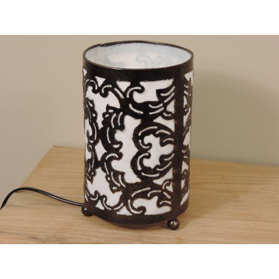 Lampe en acier cylindrique blanc 12 cm hauteur 20 cm
