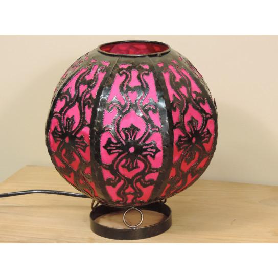 Lampe en acier ronde rose 22 cm