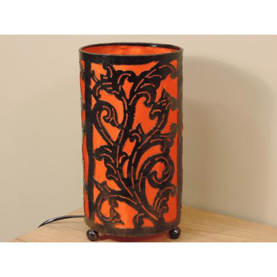Lampe en fer forgé cylindrique orange 16 cm hauteur 30 cm
