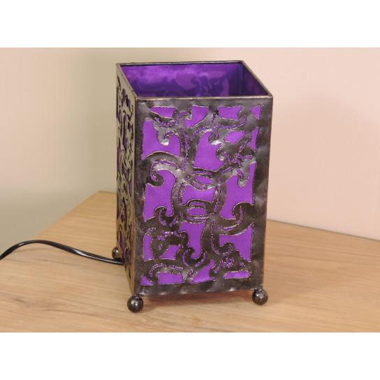 Lampe en fer forgé rectangle violet 12 cm hauteur 20 cm