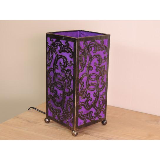 Lampe en fer forgé rectangle violet 14 cm hauteur 30 cm