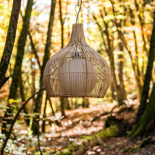 Lampe suspension en osier 41 cm