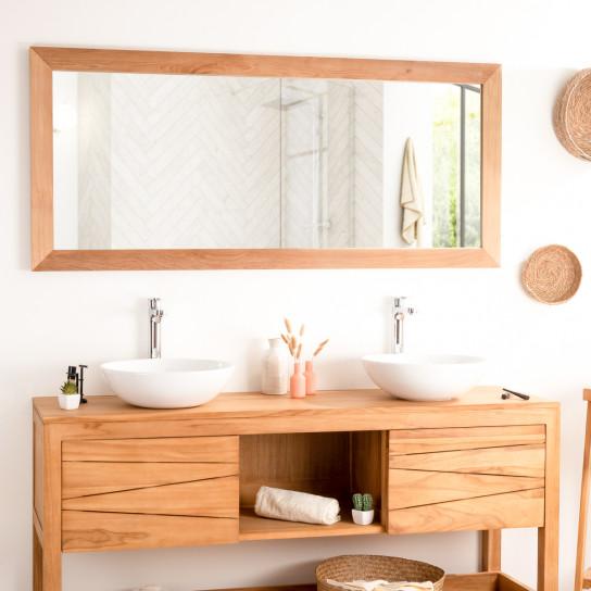 Large rectangular solid teak mirror 160 x 70