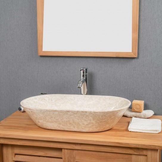 Lavabo de mármol Cuarto de baño Eve crema 60 cm
