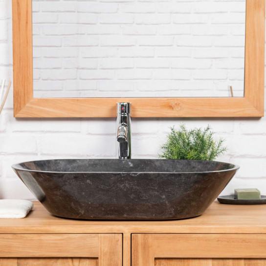 Lavabo de mármol cuarto de baño eve negro 60 cm