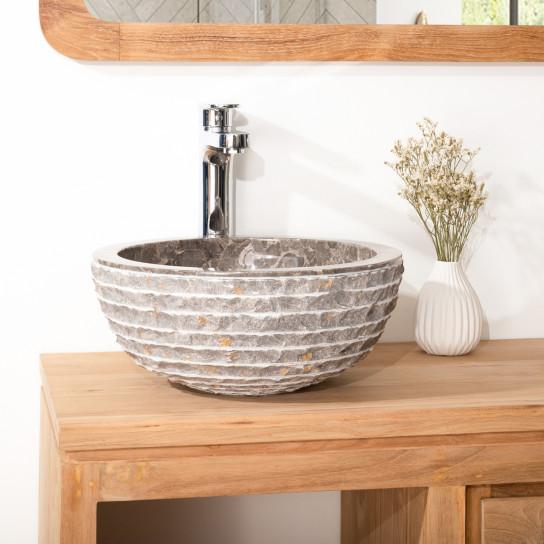 Lavabo de mármol VESUBIO piedra gris topo 35 cm