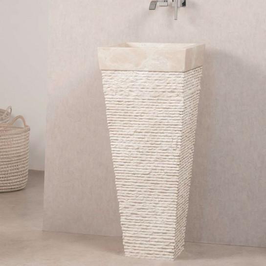 Lavabo de pie piramidal de piedra para cuarto de baño Habana crema