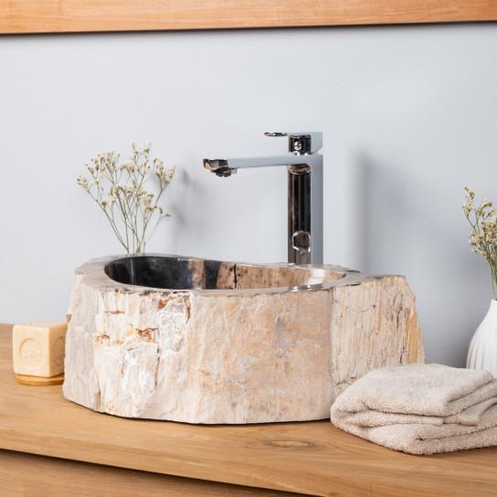 Lavabo de salle de bain en bois pétrifié fossilisé 40 CM