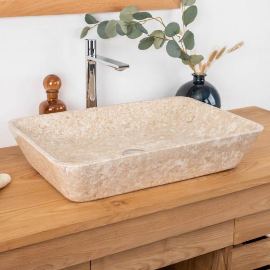 Lavabo encimera de mármol para cuarto de baño CARMEN crema 60 cm