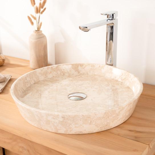 lavabo encimera de mármol para cuarto de baño MALO 45 CM CREMA