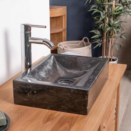 lavabo sobre encimera cuarto de baño ALEJANDRÍA rectángulo 30 x 40 cm negro