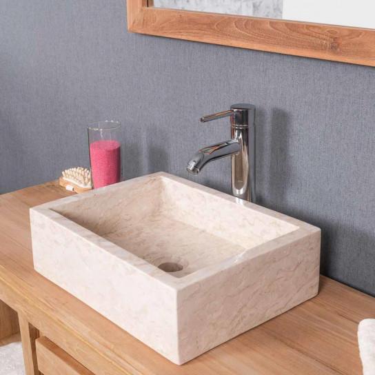lavabo sobre encimera cuarto de baño MILÁN rectángulo 30 x 40 cm crema