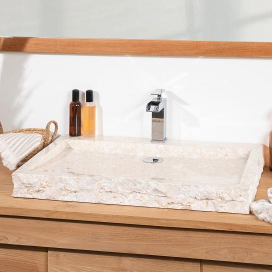 lavabo sobre encimera grande 70 cm rectángulo de piedra mármol COSY crema