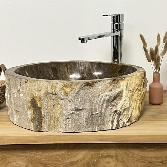 lavabo sobre encimera grande de madera petrificada 55cm