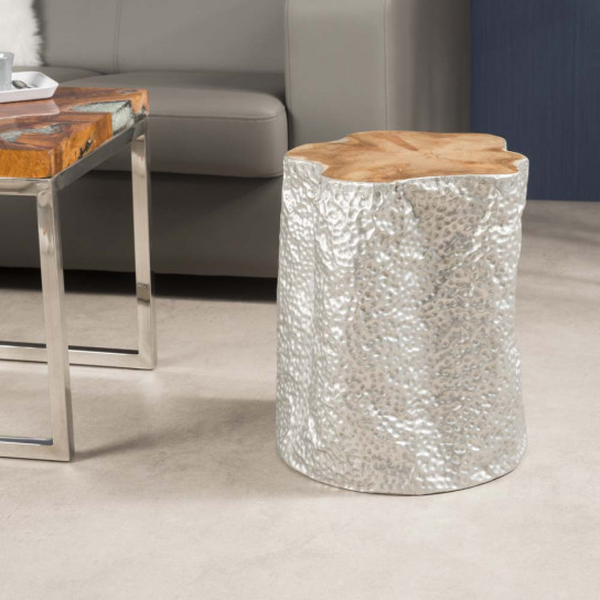 Lodge natural aluminium-covered stool