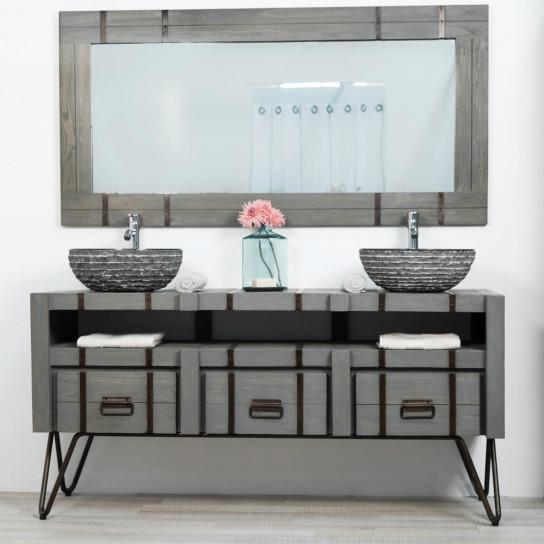 Loft grey mindi and metal bathroom double-sink vanity unit 160 cm