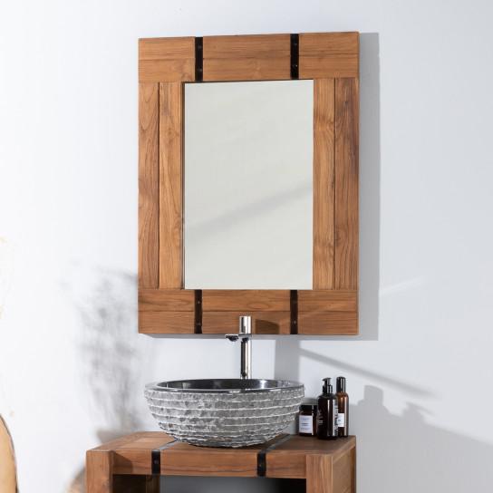 Loft wood and metal bathroom mirror 60 x 80