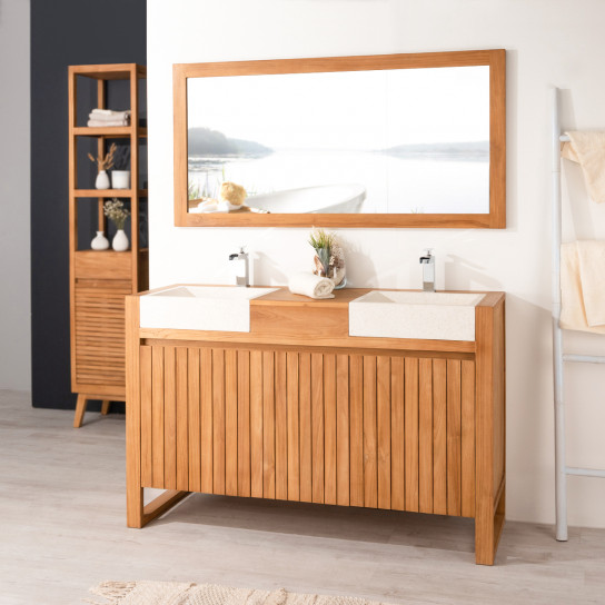Luxury teak bathroom vanity unit and sinks 140 cream