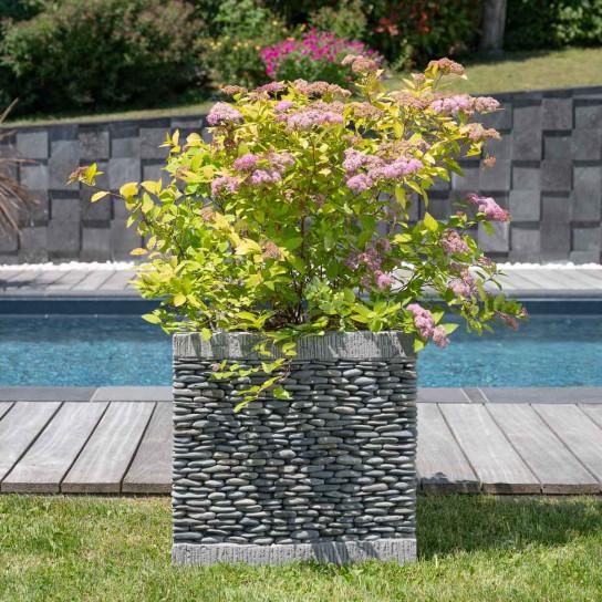 Maceta tiesto jardinera cuadrada cubo piedra 50 cm jardín zen terraza