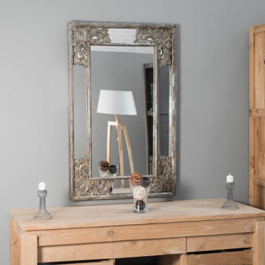 Mathilde decorative bronze-coloured weathered-finish wood mirror 110 x 70 cm