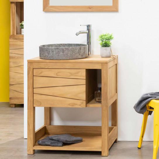 Meuble sous vasque simple vasque en bois teck massif cosy rectangle naturel l 67 cm - Meuble salle de bain en bois massif ...