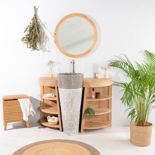 Meuble de salle de bain en teck florence 120cm vasque gris - Meuble salle de bain pied ...