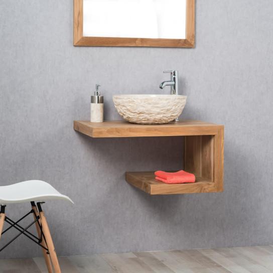 meuble sous vasque simple vasque en bois teck massif pure rectangle naturel l 70 cm. Black Bedroom Furniture Sets. Home Design Ideas
