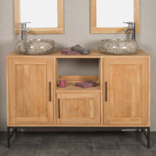 Meuble de salle de bain PABLO en teck 130 cm