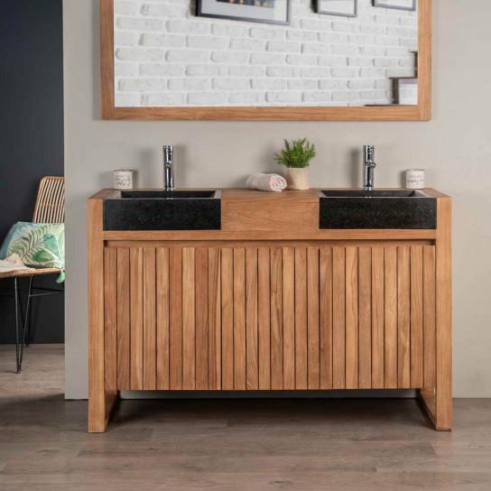 meuble salle de bain en teck et vasques en terrazzo luxe 140