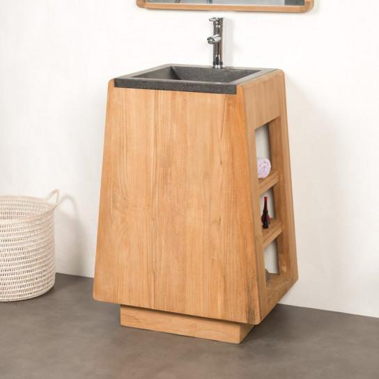 meuble salle de bain en teck et vasque terrazo