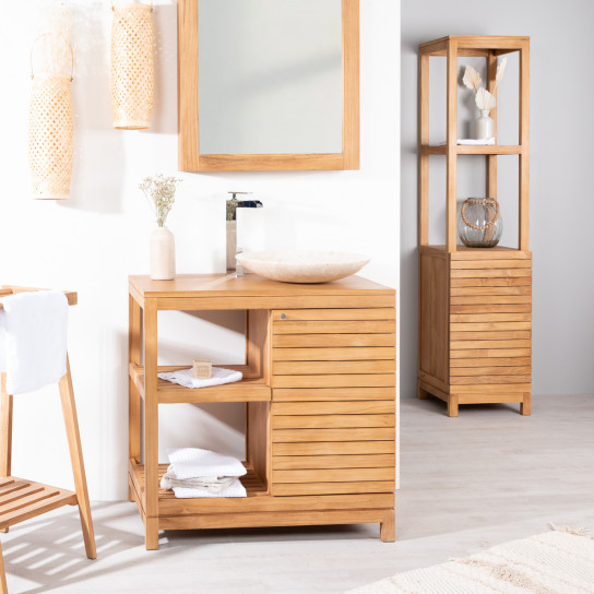 meuble sous vasque simple vasque en bois teck massif courchevel naturel l 80 cm. Black Bedroom Furniture Sets. Home Design Ideas