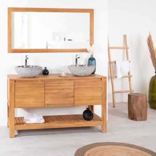 Meuble sous vasque simple vasque meuble salle de bain teck meg ve 140 cm - Meuble salle de bain en bois massif ...